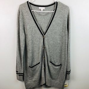 Charter Club Button Front Gray & Black Cardigan